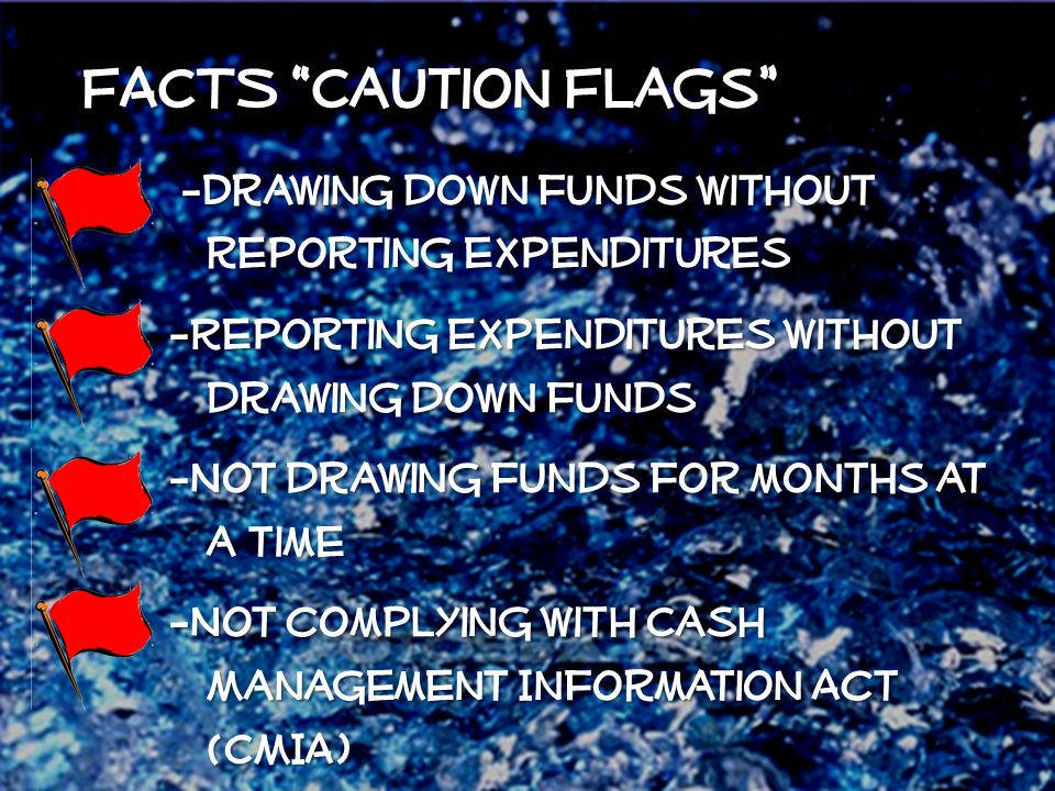FACTS Caution Flags -Drawing down funds without reporting expenditures -Drawing down funds without reporting expenditures -Reporting expenditures without drawing down funds -Not drawing funds for months at a time -Not complying with Cash Management Information Act (CMIA)