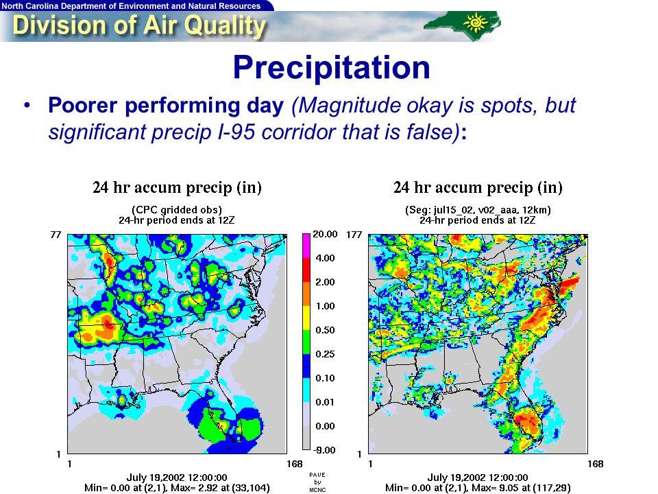 41 Poorer performing day (Magnitude okay is spots, but significant precip I-95 corridor that is false): Precipitation