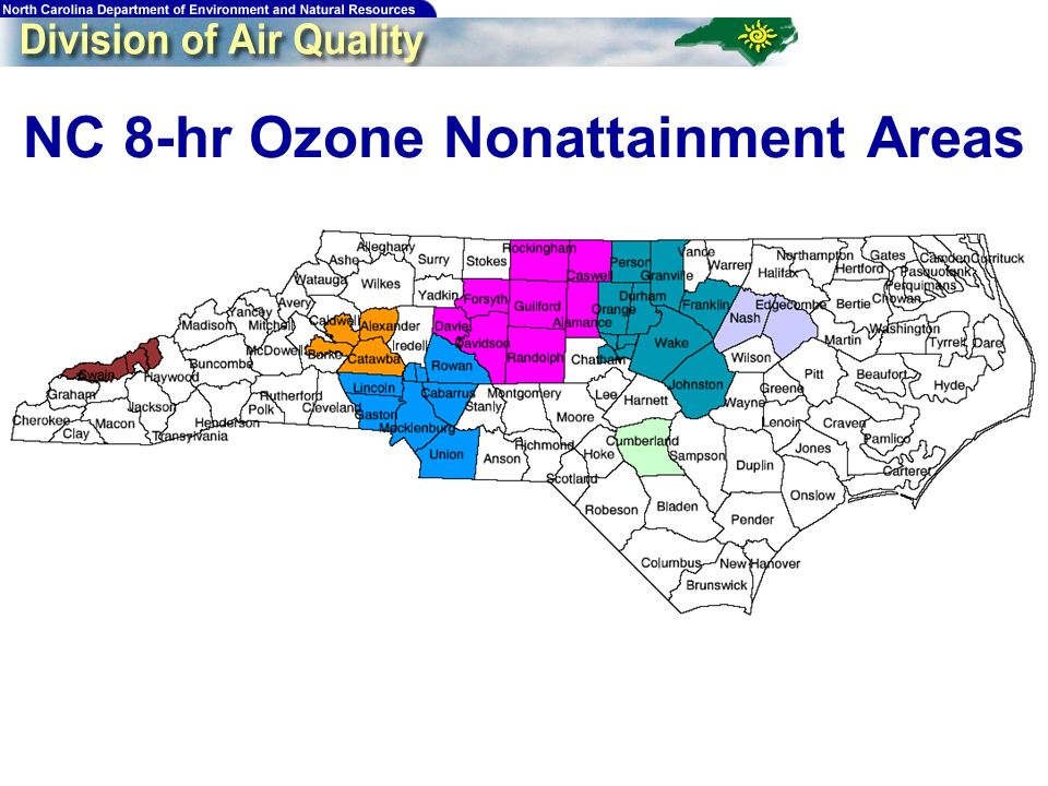 10 Triangle 8-hr Ozone Design Values Monitor Millbrook Butner Duke St Franklinton Bushy Fork Tower W Johnston Fuquay-Varina Pittsboro County Wake Granville Durham Franklin Person Wake Johnston Wake Chatham 01-03 92 94 89 90 91 85 88 82 02-04 88 89 86 88 85 86 83 87 79 2005* 90 83 96 90 99 91 100 88 111 * 4 th highest 8-hr max in 2005 can be no higher than this value in order to attain by the end of the 2005 ozone season.