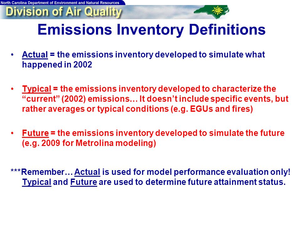 173 Emissions Inventory Definitions ActualActual = the emissions inventory developed to simulate what happened in 2002 TypicalTypical = the emissions
