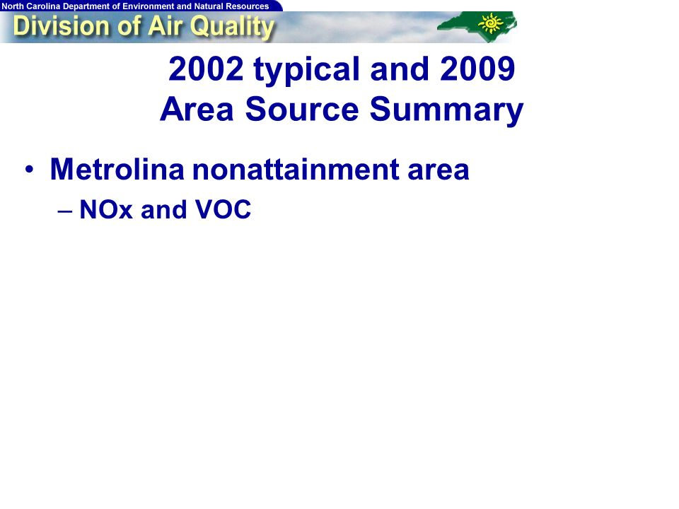 184 2002 typical and 2009 Area Source Summary Metrolina nonattainment area –NOx and VOC