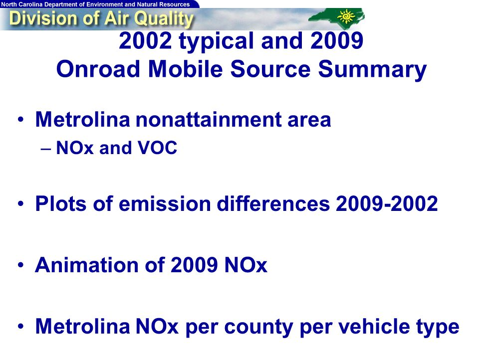 191 2002 typical and 2009 Onroad Mobile Source Summary Metrolina nonattainment area –NOx and VOC Plots of emission differences 2009-2002 Animation of 2009 NOx Metrolina NOx per county per vehicle type