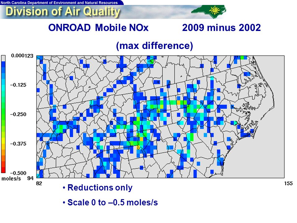 200 ONROAD Mobile NOx 2009 minus 2002 (max difference) Reductions only Scale 0 to –0.5 moles/s