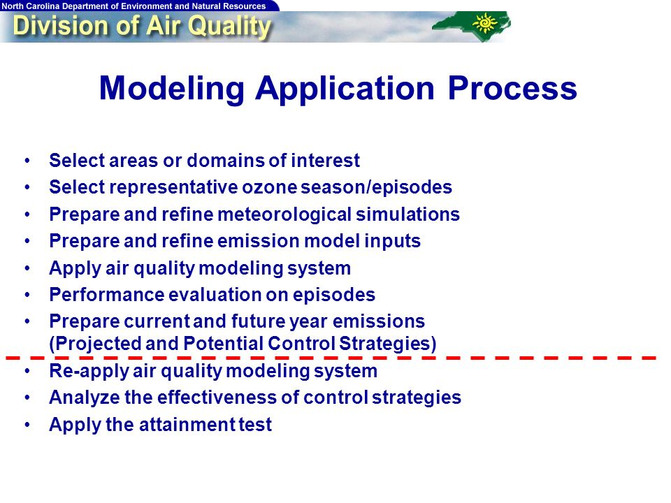 23 Modeling Application Process Select areas or domains of interest Select representative ozone season/episodes Prepare and refine meteorological simulations Prepare and refine emission model inputs Apply air quality modeling system Performance evaluation on episodes Prepare current and future year emissions (Projected and Potential Control Strategies) Re-apply air quality modeling system Analyze the effectiveness of control strategies Apply the attainment test