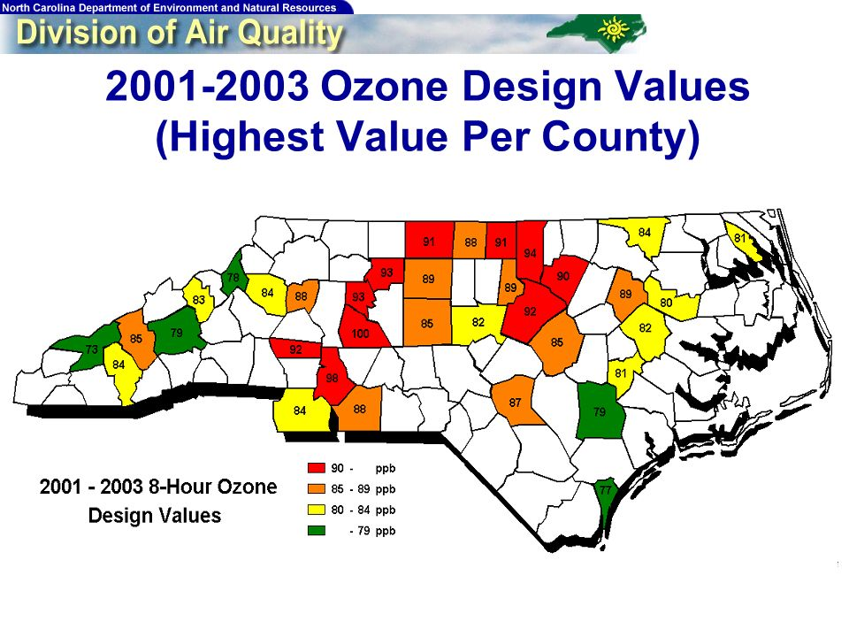 7 2001-2003 Ozone Design Values (Highest Value Per County)