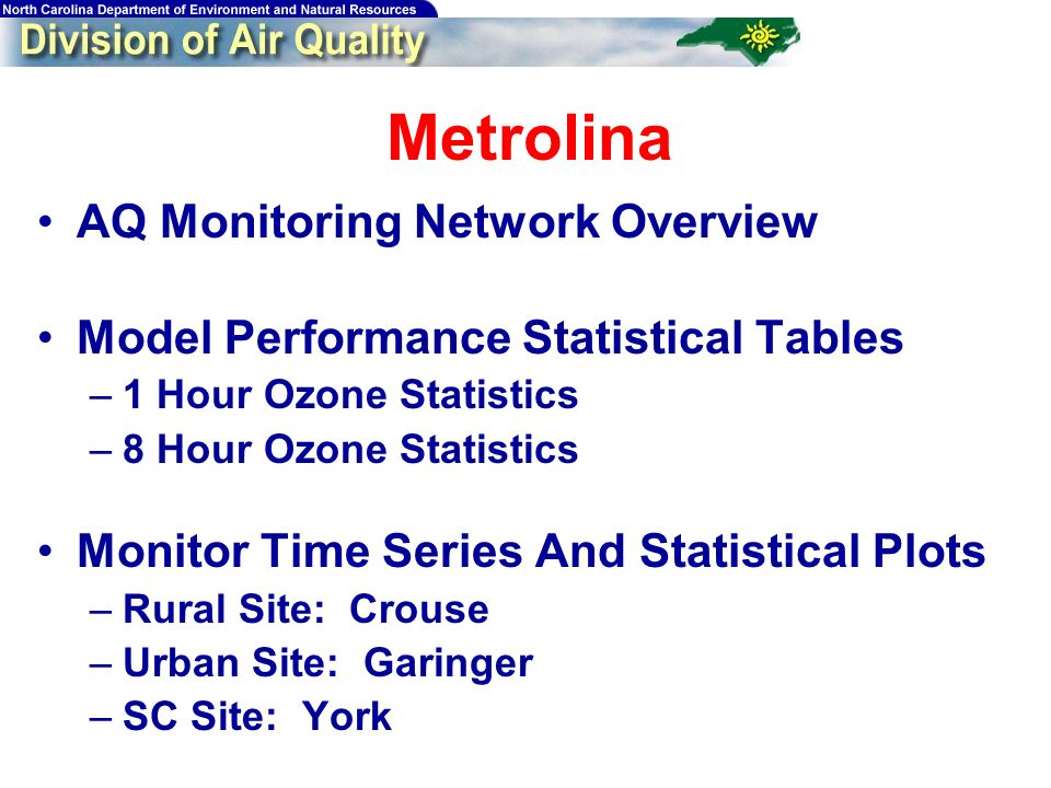 77 Metrolina AQ Monitoring Network Overview Model Performance Statistical Tables –1 Hour Ozone Statistics –8 Hour Ozone Statistics Monitor Time Series