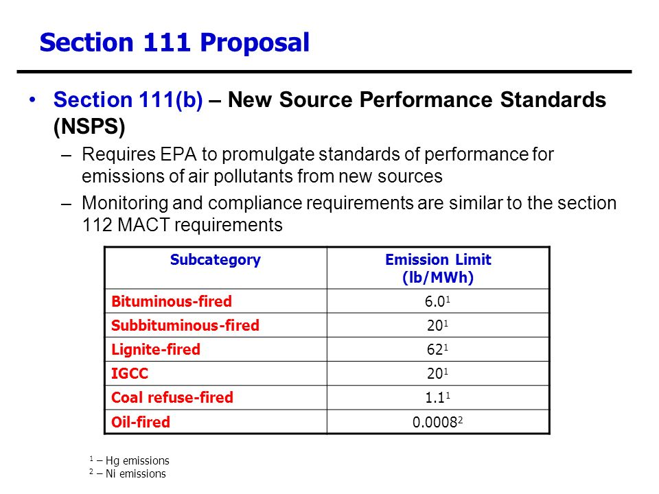Section 111 Proposal Section 111(b) – New Source Performance Standards (NSPS) –Requires EPA to promulgate standards of performance for emissions of air pollutants from new sources –Monitoring and compliance requirements are similar to the section 112 MACT requirements SubcategoryEmission Limit (lb/MWh) Bituminous-fired6.0 1 Subbituminous-fired20 1 Lignite-fired62 1 IGCC20 1 Coal refuse-fired1.1 1 Oil-fired0.0008 2 1 – Hg emissions 2 – Ni emissions