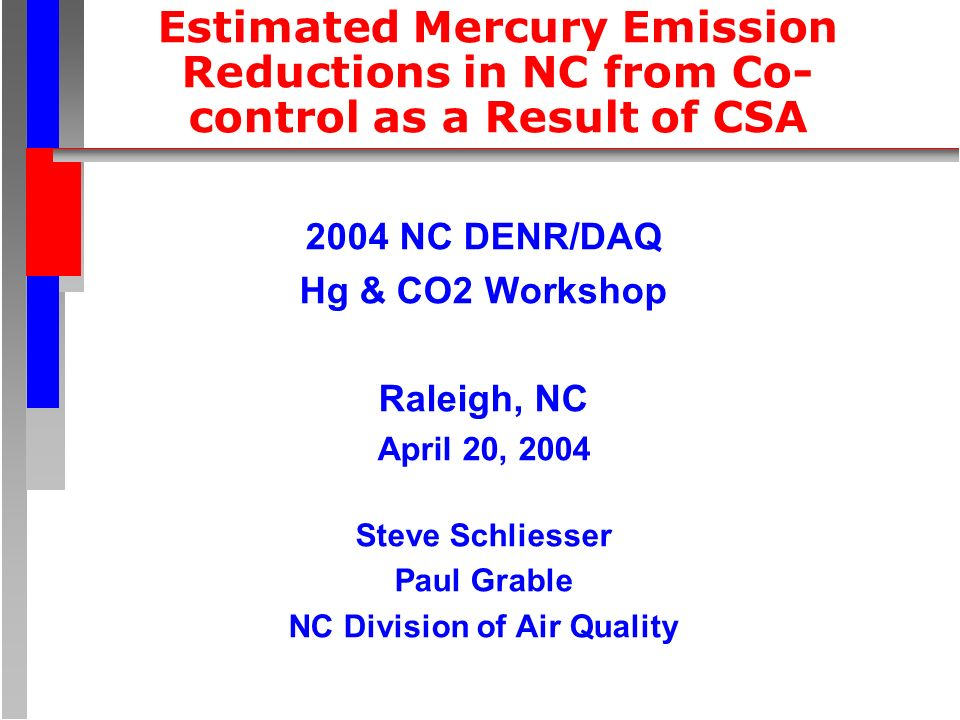 Estimated Mercury Emission Reductions in NC from Co- control as a Result of CSA 2004 NC DENR/DAQ Hg & CO2 Workshop Raleigh, NC April 20, 2004 Steve Schliesser Paul Grable NC Division of Air Quality