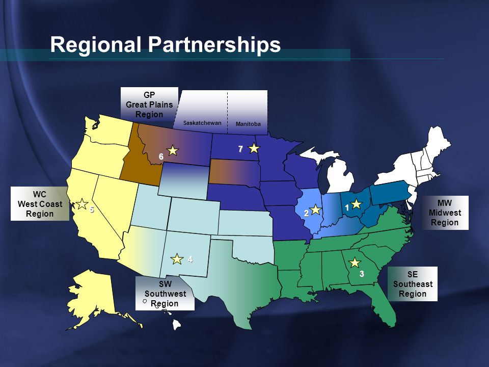 Regional Partnerships WC West Coast Region GP Great Plains Region SW Southwest Region SE Southeast Region MW Midwest Region 5 5 7 7 1 1 3 3 4 4 6 6 2 2 Saskatchewan Manitoba