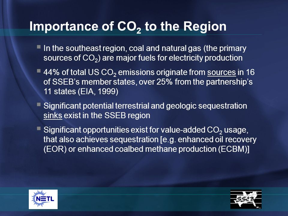 In the southeast region, coal and natural gas (the primary sources of CO 2 ) are major fuels for electricity production 44% of total US CO 2 emissions originate from sources in 16 of SSEBs member states, over 25% from the partnerships 11 states (EIA, 1999) Significant potential terrestrial and geologic sequestration sinks exist in the SSEB region Significant opportunities exist for value-added CO 2 usage, that also achieves sequestration [e.g.