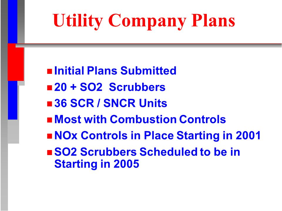 Utility Company Plans n Initial Plans Submitted n 20 + SO2 Scrubbers n 36 SCR / SNCR Units n Most with Combustion Controls n NOx Controls in Place Sta