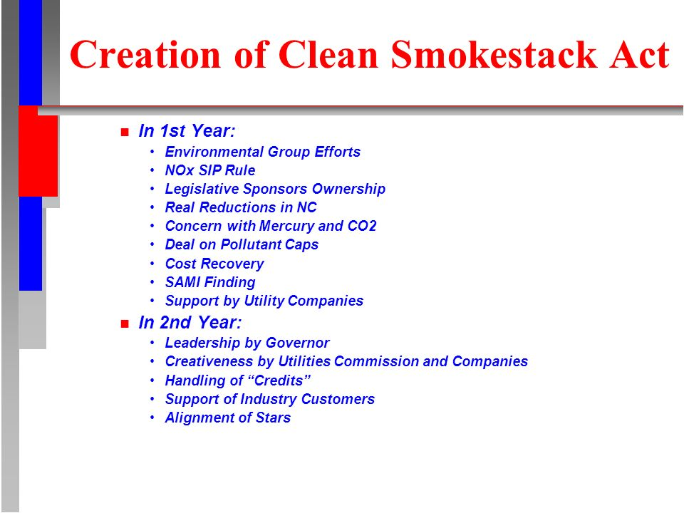Creation of Clean Smokestack Act n In 1st Year: Environmental Group Efforts NOx SIP Rule Legislative Sponsors Ownership Real Reductions in NC Concern with Mercury and CO2 Deal on Pollutant Caps Cost Recovery SAMI Finding Support by Utility Companies n In 2nd Year: Leadership by Governor Creativeness by Utilities Commission and Companies Handling of Credits Support of Industry Customers Alignment of Stars