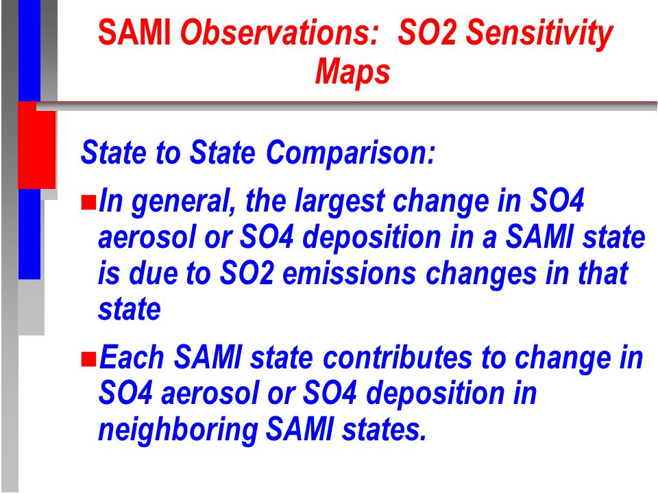 SAMI Observations: SO2 Sensitivity Maps State to State Comparison: n In general, the largest change in SO4 aerosol or SO4 deposition in a SAMI state is due to SO2 emissions changes in that state n Each SAMI state contributes to change in SO4 aerosol or SO4 deposition in neighboring SAMI states.