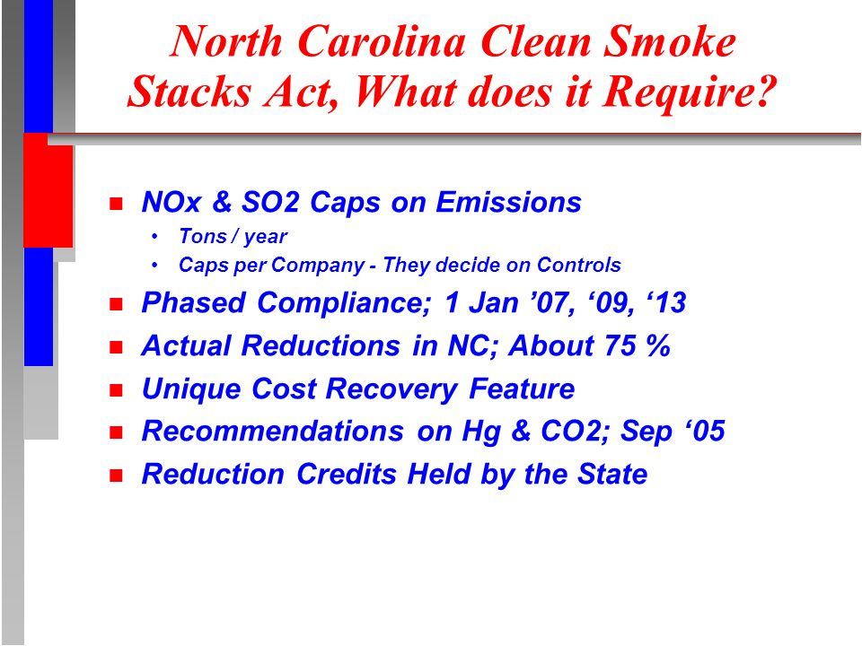 North Carolina Clean Smoke Stacks Act, What does it Require.