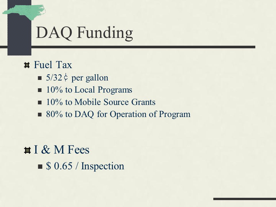 DAQ Funding Fuel Tax 5/32 per gallon 10% to Local Programs 10% to Mobile Source Grants 80% to DAQ for Operation of Program I & M Fees $ 0.65 / Inspection C I I