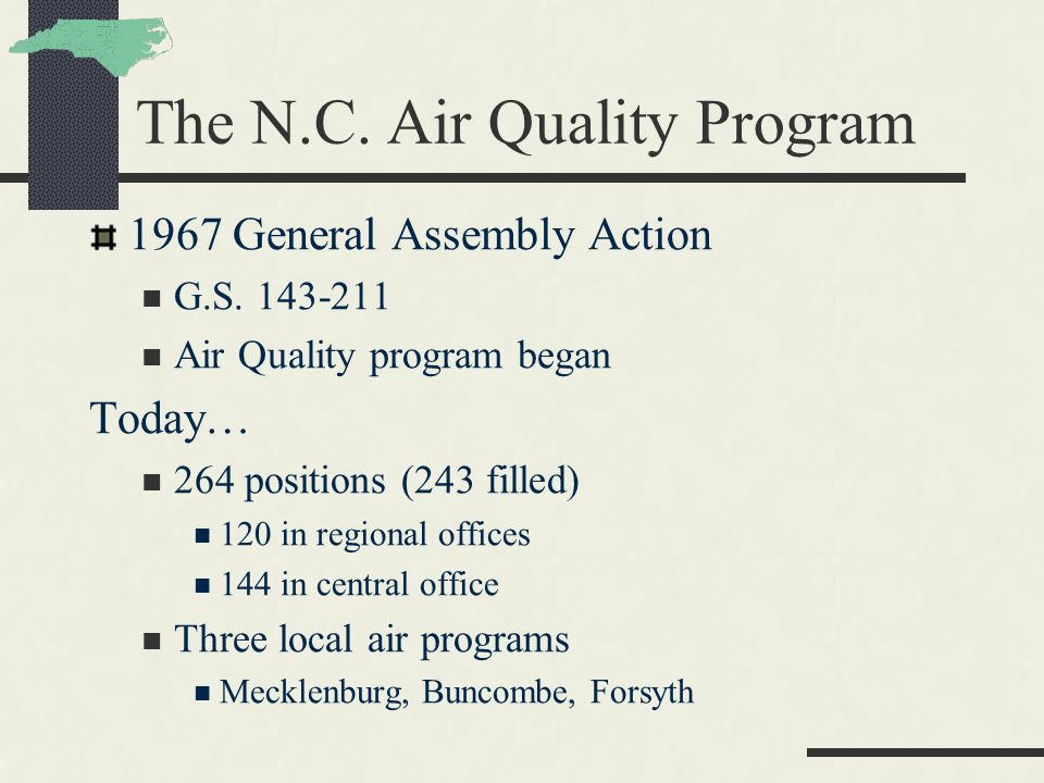 The N.C. Air Quality Program 1967 General Assembly Action G.S.