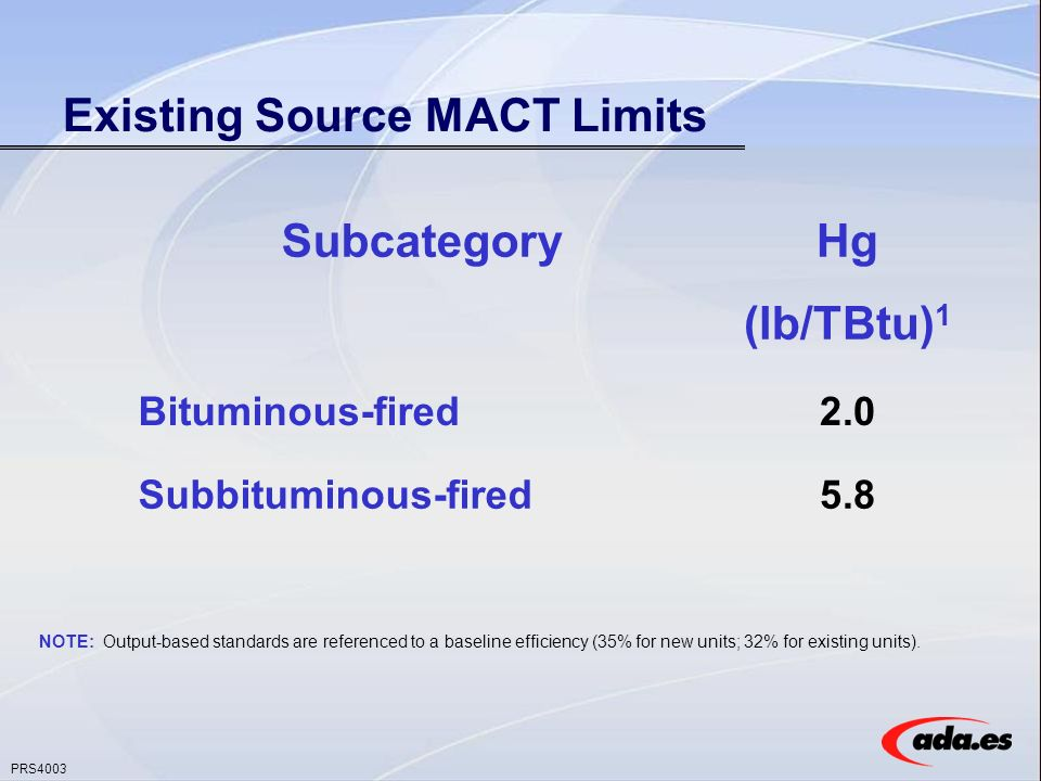PRS4003 Existing Source MACT Limits NOTE: Output-based standards are referenced to a baseline efficiency (35% for new units; 32% for existing units).