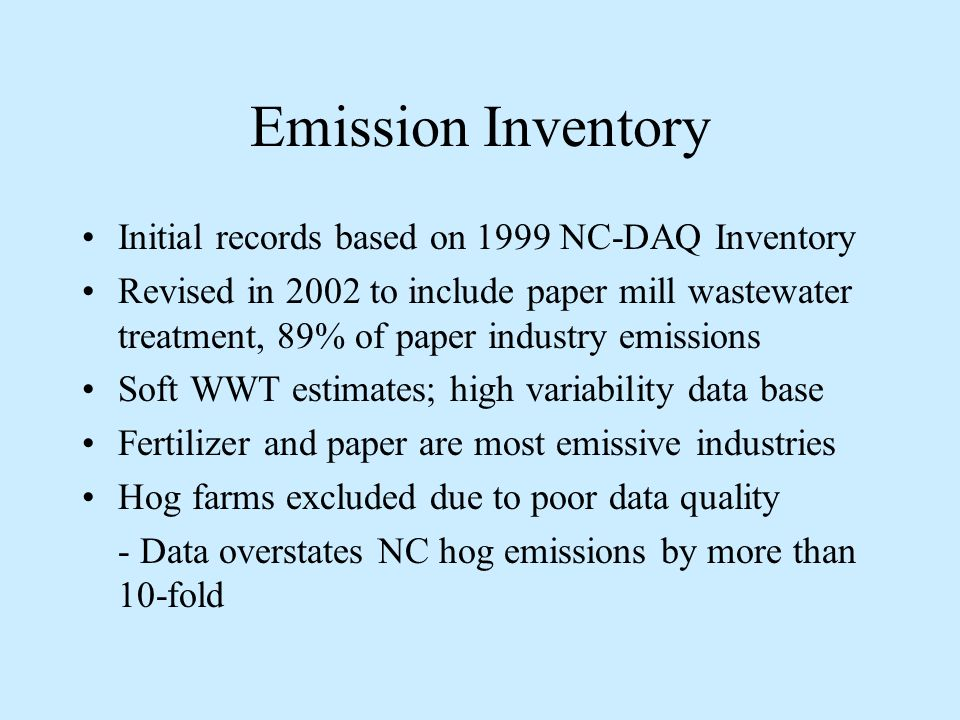 Figure 1. 1999 Emissions Inventory Total = 4.2 Million lb H 2 S/yr
