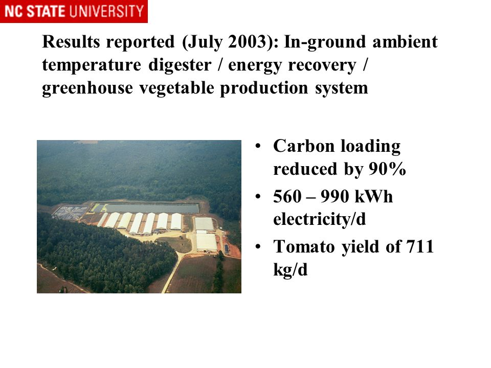 Results reported (July 2003): In-ground ambient temperature digester / energy recovery / greenhouse vegetable production system Carbon loading reduced by 90% 560 – 990 kWh electricity/d Tomato yield of 711 kg/d