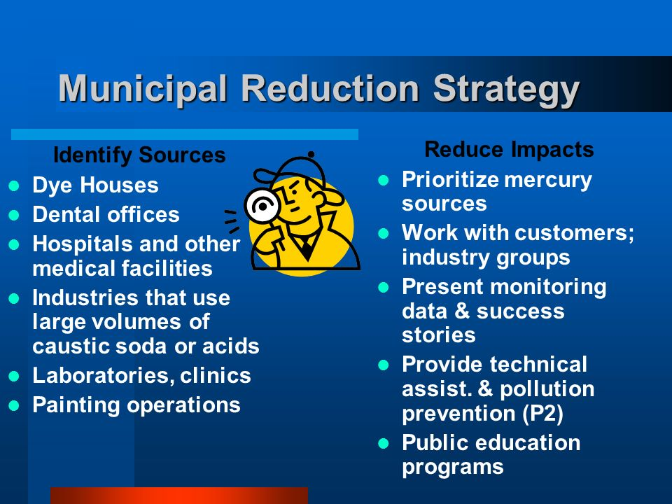Municipal Reduction Strategy Identify Sources Dye Houses Dental offices Hospitals and other medical facilities Industries that use large volumes of caustic soda or acids Laboratories, clinics Painting operations Reduce Impacts Prioritize mercury sources Work with customers; industry groups Present monitoring data & success stories Provide technical assist.