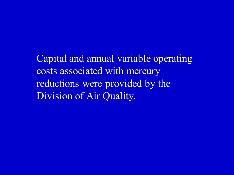Capital and annual variable operating costs associated with mercury reductions were provided by the Division of Air Quality.