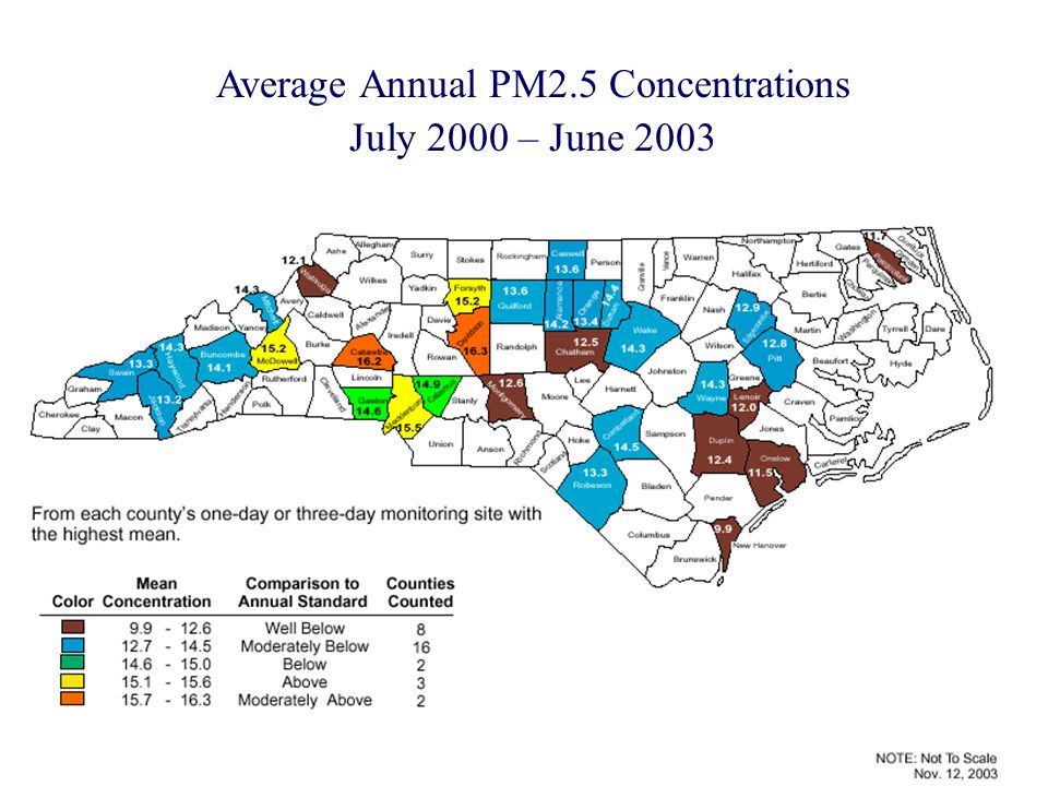 Average Annual PM2.5 Concentrations July 2000 – June 2003