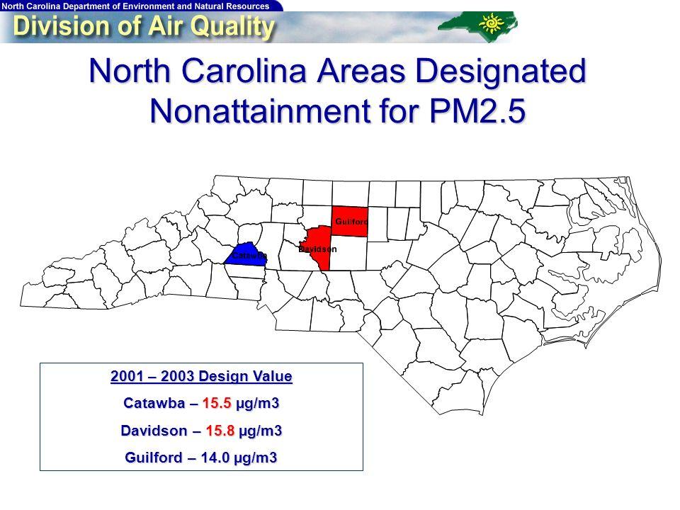 North Carolina Areas Designated Nonattainment for PM2.5 2001 – 2003 Design Value Catawba – 15.5 µg/m3 Davidson – 15.8 µg/m3 Guilford – 14.0 µg/m3