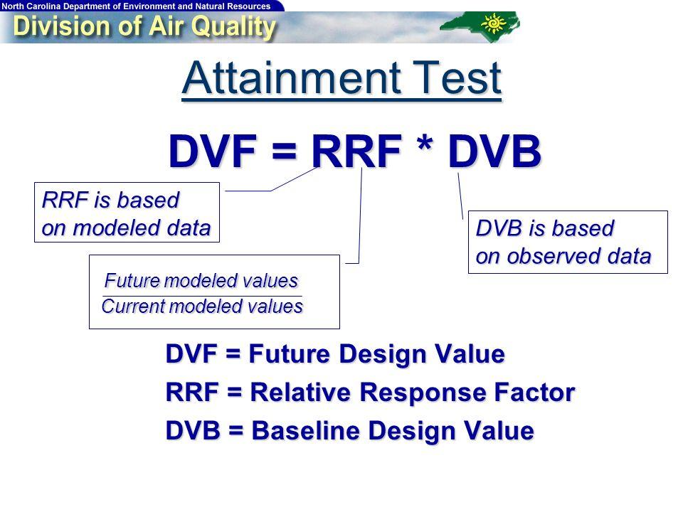 Attainment Test DVF = RRF * DVB DVF = RRF * DVB DVF = Future Design Value DVF = Future Design Value RRF = Relative Response Factor RRF = Relative Response Factor DVB = Baseline Design Value DVB = Baseline Design Value RRF is based on modeled data DVB is based on observed data Future modeled values Future modeled values Current modeled values Current modeled values