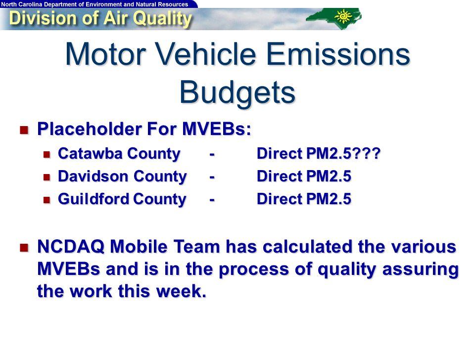 Motor Vehicle Emissions Budgets Placeholder For MVEBs: Placeholder For MVEBs: Catawba County-Direct PM2.5??? Catawba County-Direct PM2.5??? Davidson C