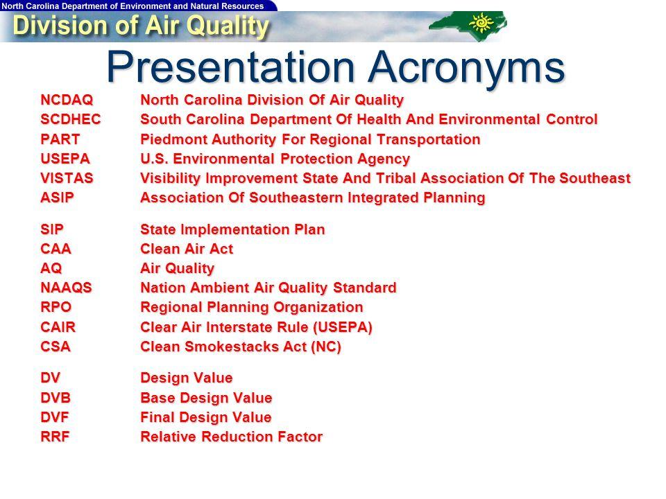 Presentation Acronyms NCDAQNorth Carolina Division Of Air Quality SCDHECSouth Carolina Department Of Health And Environmental Control PARTPiedmont Authority For Regional Transportation USEPAU.S.