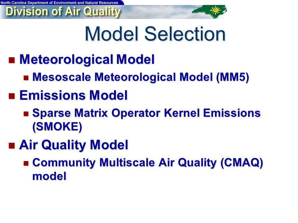 Model Selection Meteorological Model Meteorological Model Mesoscale Meteorological Model (MM5) Mesoscale Meteorological Model (MM5) Emissions Model Em