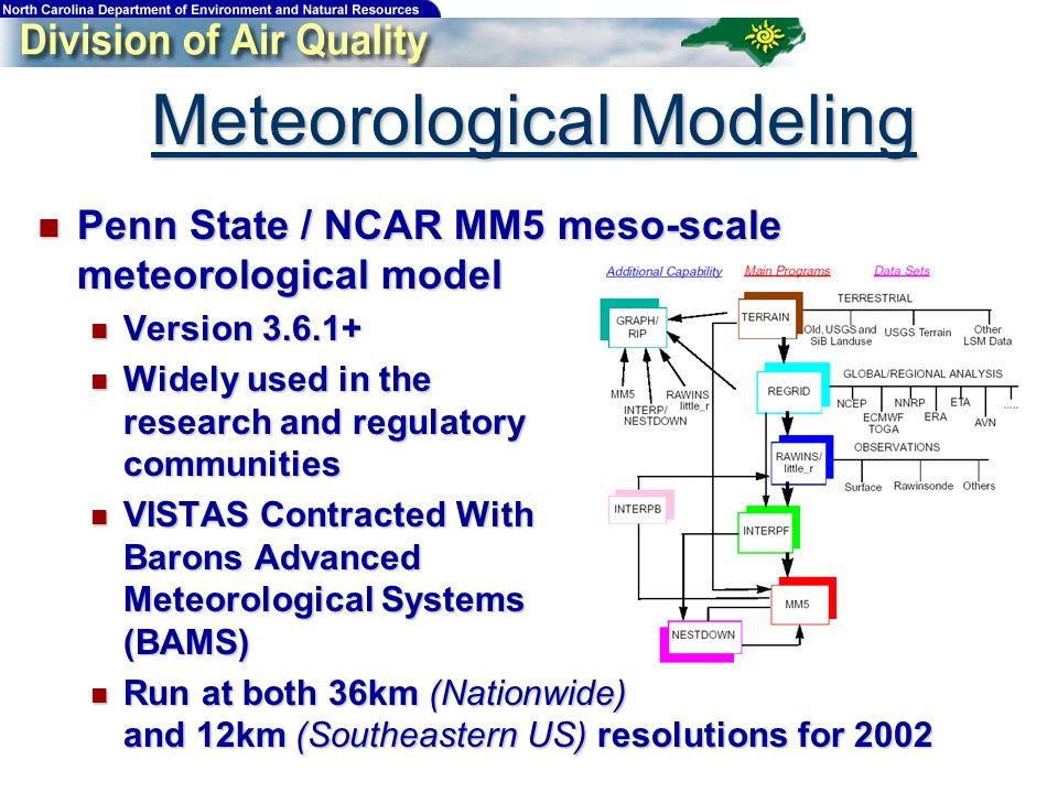 Meteorological Modeling Penn State / NCAR MM5 meso-scale meteorological model Penn State / NCAR MM5 meso-scale meteorological model Version 3.6.1+ Ver