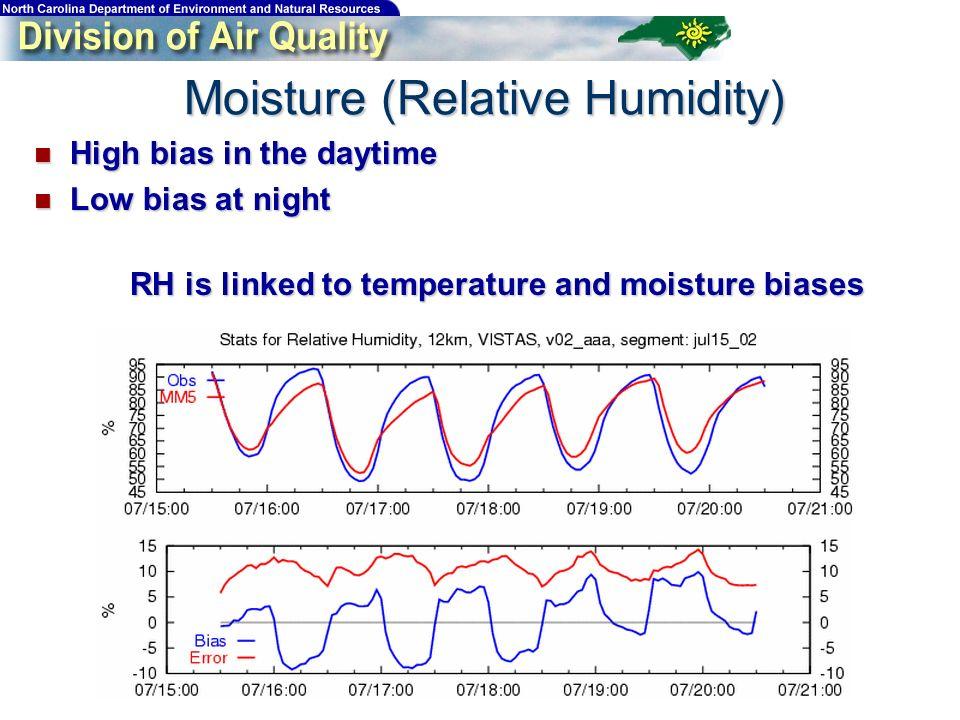 High bias in the daytime High bias in the daytime Low bias at night Low bias at night RH is linked to temperature and moisture biases Moisture (Relati