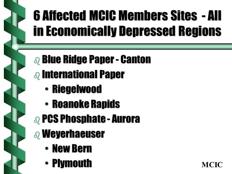 MCIC 6 Affected MCIC Members Sites - All in Economically Depressed Regions b Blue Ridge Paper - Canton b International Paper RiegelwoodRiegelwood Roan