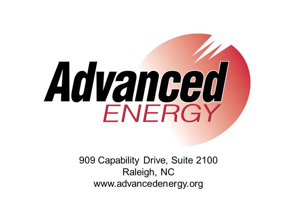 909 Capability Drive, Suite 2100 Raleigh, NC www.advancedenergy.org
