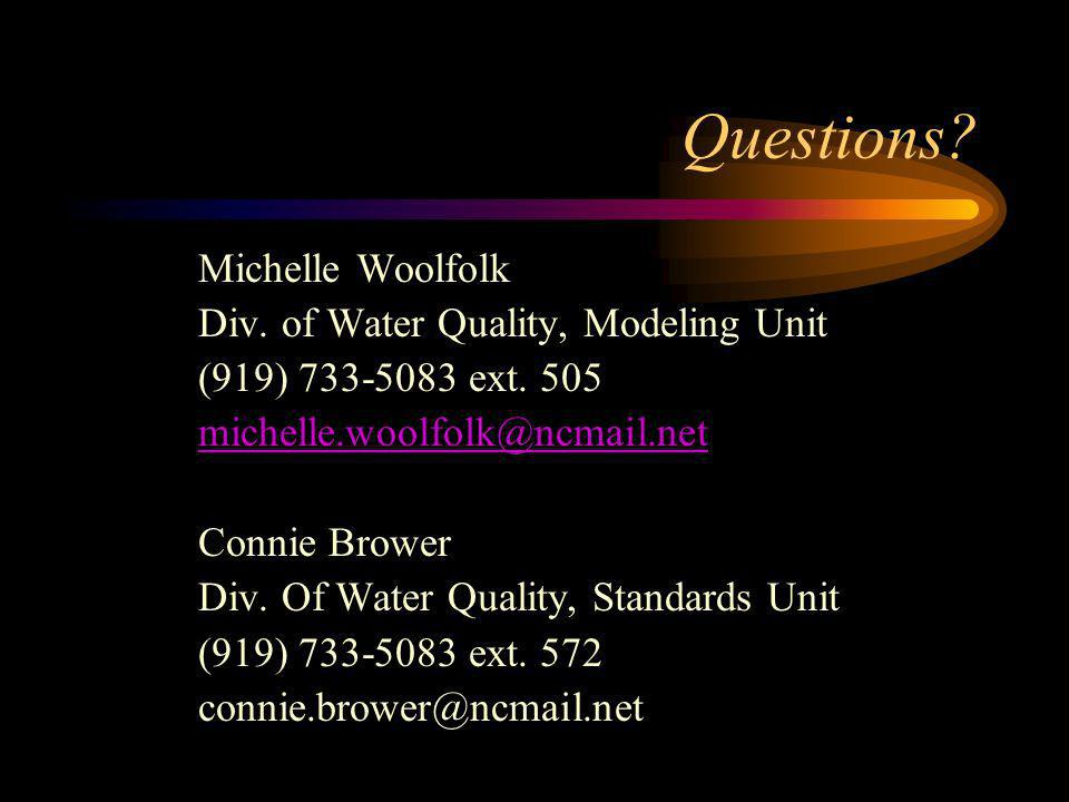 Questions? Michelle Woolfolk Div. of Water Quality, Modeling Unit (919) 733-5083 ext. 505 michelle.woolfolk@ncmail.net Connie Brower Div. Of Water Qua