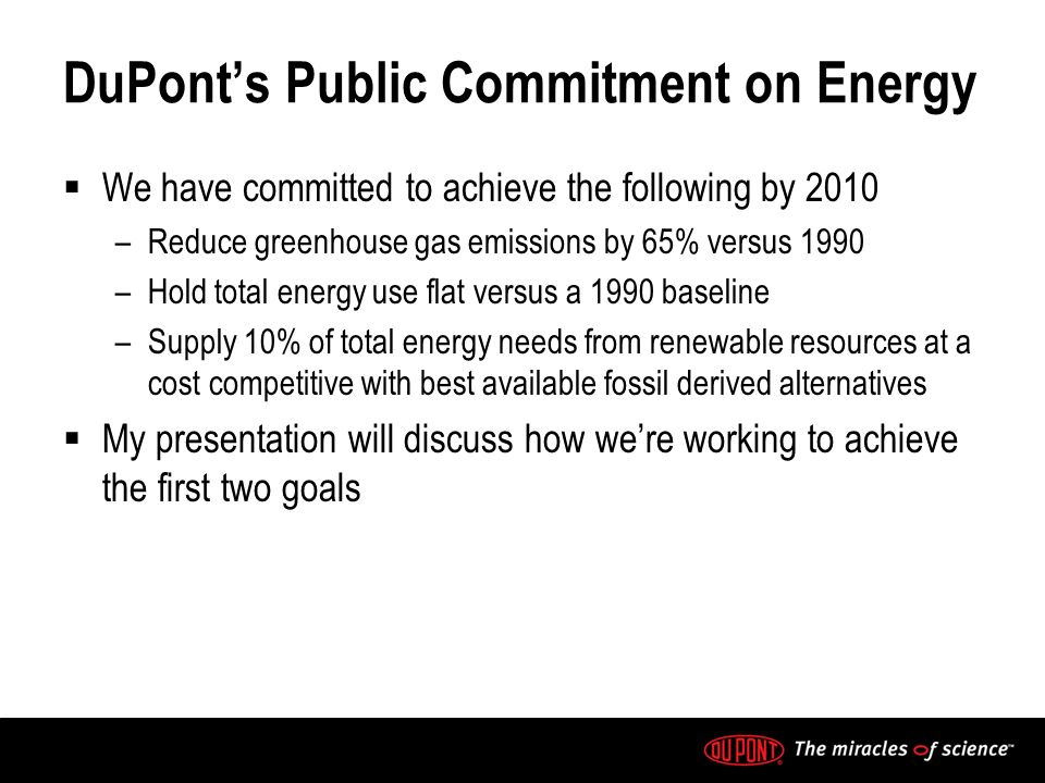DuPonts Public Commitment on Energy We have committed to achieve the following by 2010 –Reduce greenhouse gas emissions by 65% versus 1990 –Hold total