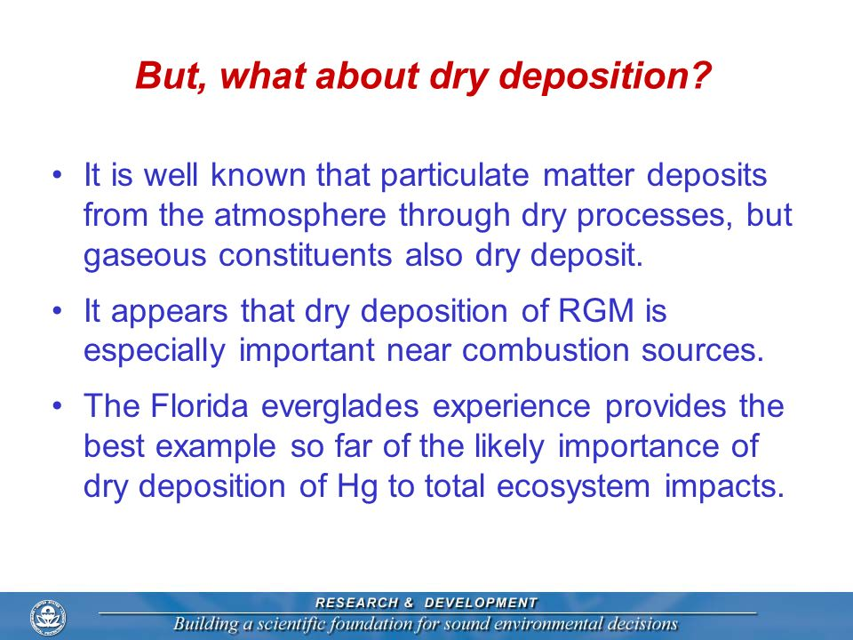 But, what about dry deposition? It is well known that particulate matter deposits from the atmosphere through dry processes, but gaseous constituents