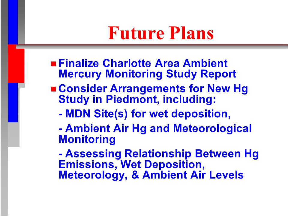 Future Plans n Finalize Charlotte Area Ambient Mercury Monitoring Study Report n Consider Arrangements for New Hg Study in Piedmont, including: - MDN