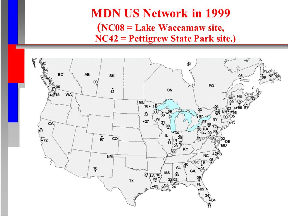 MDN US Network in 1999 ( NC08 = Lake Waccamaw site, NC42 = Pettigrew State Park site.)