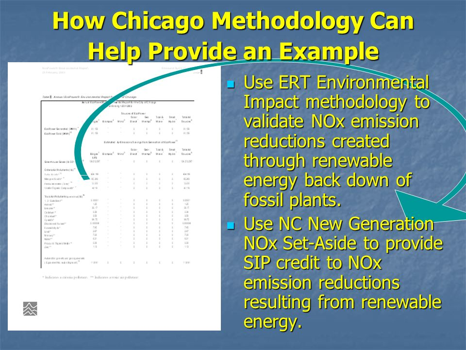 How Chicago Methodology Can Help Provide an Example Use ERT Environmental Impact methodology to validate NOx emission reductions created through renew
