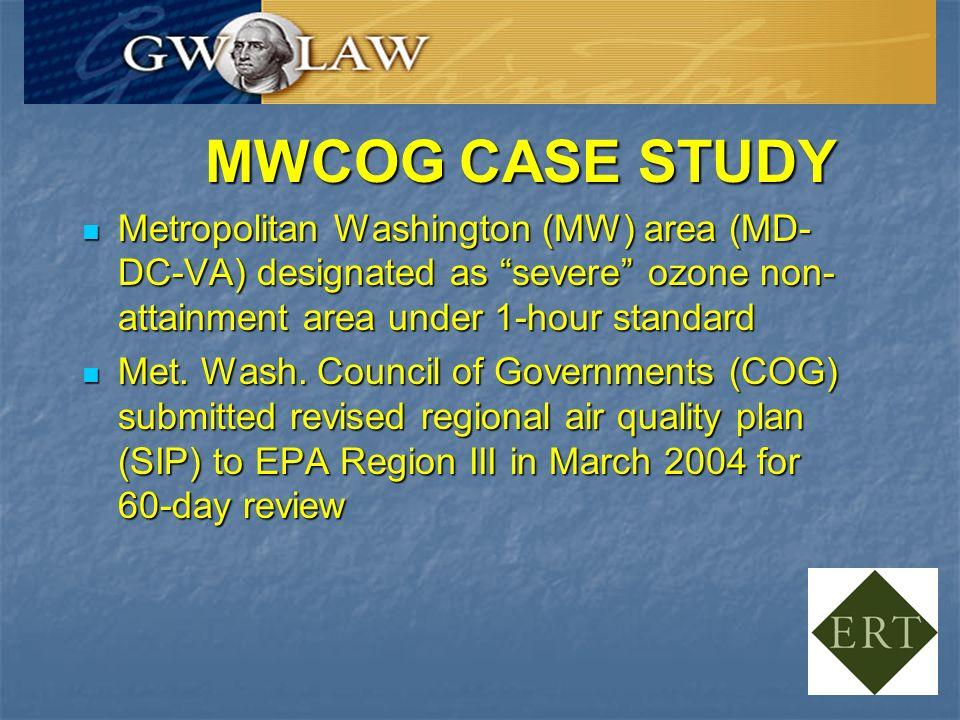 MWCOG CASE STUDY Metropolitan Washington (MW) area (MD- DC-VA) designated as severe ozone non- attainment area under 1-hour standard Metropolitan Washington (MW) area (MD- DC-VA) designated as severe ozone non- attainment area under 1-hour standard Met.