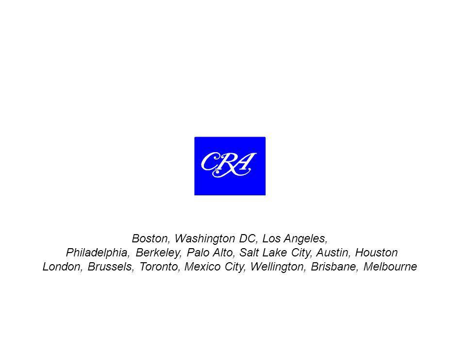 Boston, Washington DC, Los Angeles, Philadelphia, Berkeley, Palo Alto, Salt Lake City, Austin, Houston London, Brussels, Toronto, Mexico City, Wellington, Brisbane, Melbourne