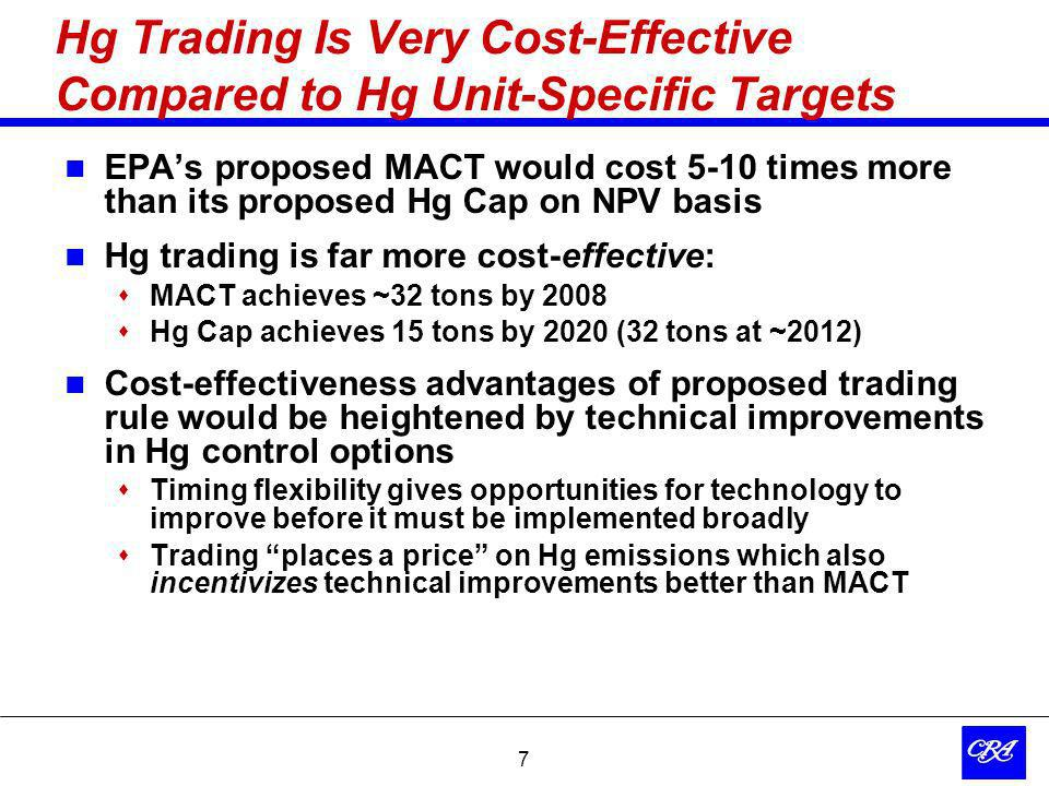 7 Hg Trading Is Very Cost-Effective Compared to Hg Unit-Specific Targets EPAs proposed MACT would cost 5-10 times more than its proposed Hg Cap on NPV basis Hg trading is far more cost-effective: MACT achieves ~32 tons by 2008 Hg Cap achieves 15 tons by 2020 (32 tons at ~2012) Cost-effectiveness advantages of proposed trading rule would be heightened by technical improvements in Hg control options Timing flexibility gives opportunities for technology to improve before it must be implemented broadly Trading places a price on Hg emissions which also incentivizes technical improvements better than MACT