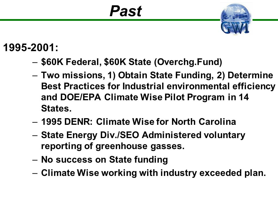 Past 1995-2001: –$60K Federal, $60K State (Overchg.Fund) –Two missions, 1) Obtain State Funding, 2) Determine Best Practices for Industrial environmen