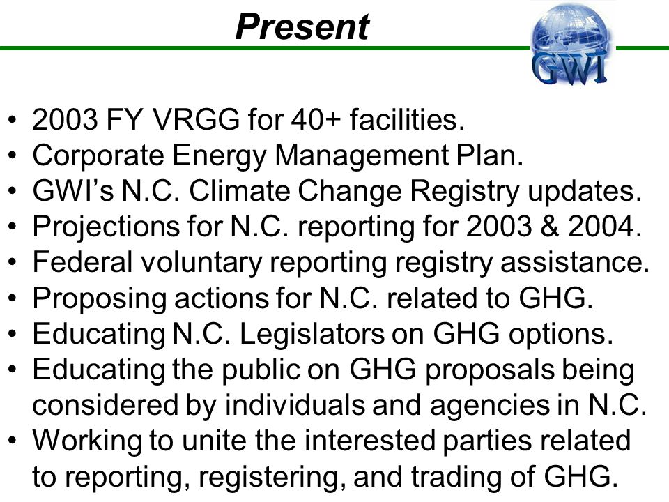 Present 2003 FY VRGG for 40+ facilities. Corporate Energy Management Plan.