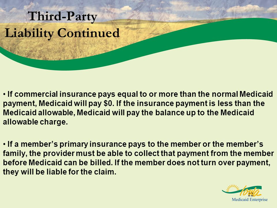 22 Third-Party Liability Continued If commercial insurance pays equal to or more than the normal Medicaid payment, Medicaid will pay $0. If the insura