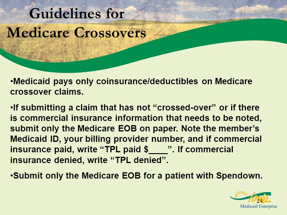 24 Guidelines for Medicare Crossovers Medicaid pays only coinsurance/deductibles on Medicare crossover claims. If submitting a claim that has not cros