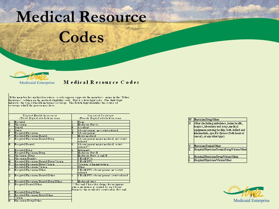 31 Medical Resource Codes