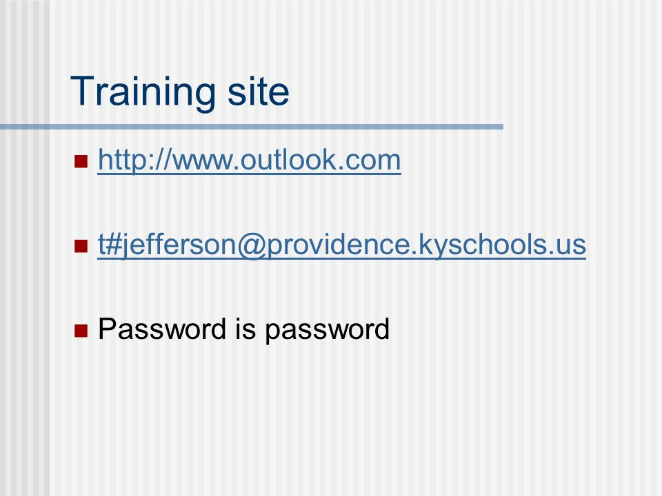 Training site   Password is password